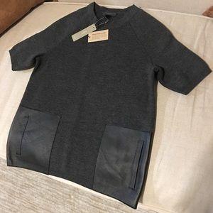 J. Crew NWT sweater Leather Pockets Crew Neck